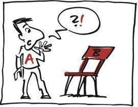 Karikatur von Mann A und Sprechblase mit Frage- und Ausrufezeichen vor leerem Stuhl B