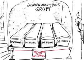 """Einbahnstraßen-Kommunikation: Karikatur von Kommunikationsgruft: Gräber nebeneinander, auf denen """"Mitteilung"""" steht"""
